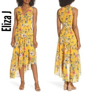 NWT Eliza J Sleeveless Asymmetrical Hem Midi Dress